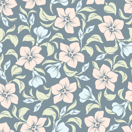 seamless floral pattern: Vector seamless floral pattern with pink and blue flowers and green leaves on a blue background.