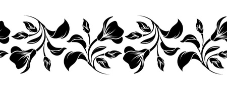Vector horizontal black and white seamless background with flowers.