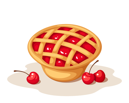 fruit cake: Vector cherry pie isolated on a white background. Illustration