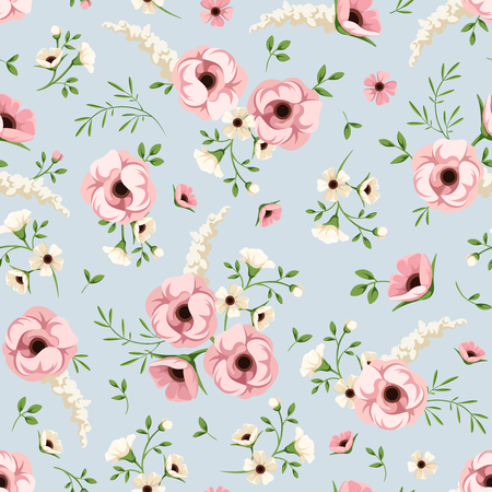 Vector seamless pattern with pink and white flowers on a blue background. Illustration