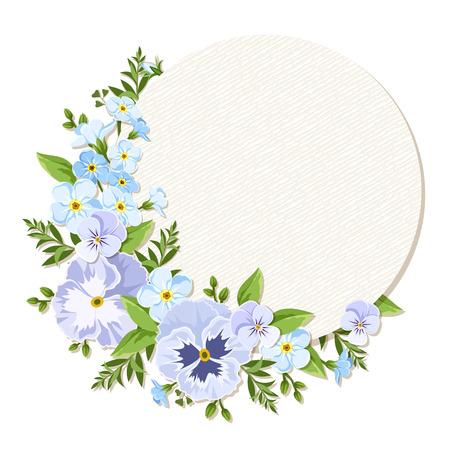 Carte de cercle de vecteur avec des pensées bleues et violettes et des fleurs de myosotis. Vecteurs