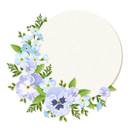 pansies: Vector circle card with blue and purple pansies and forget-me-not flowers. Illustration