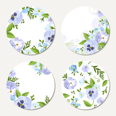 purple flowers: Set of four vector circle white cards with blue and purple pansies and forget-me-not flowers. Illustration