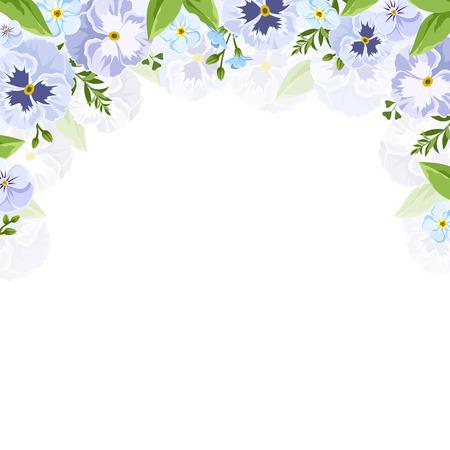 Vector background con viole del pensiero blu e viola e fiori Forget-me-no.