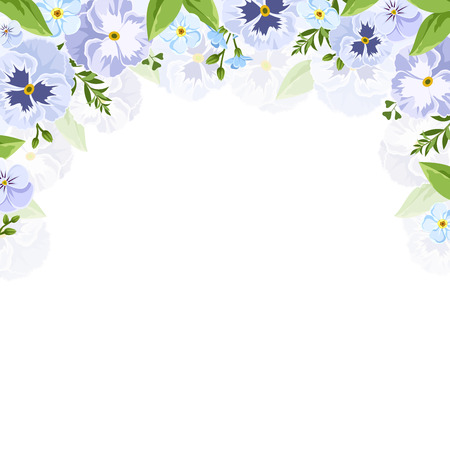 pansies: Vector background with blue and purple pansies and forget-me-not flowers. Illustration