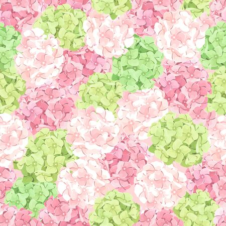 temperate: Vector seamless pattern with pink and green hydrangea flowers.