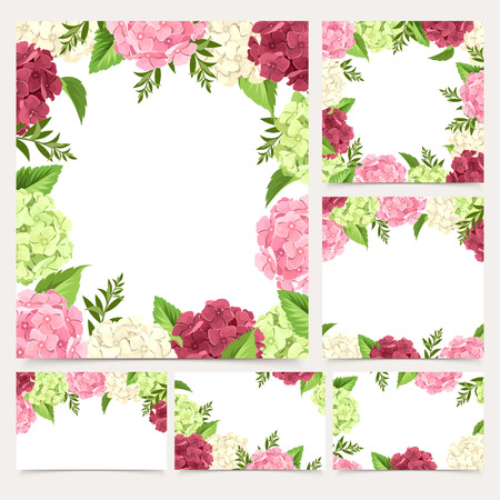maroon: Vector set of greeting or wedding white cards with pink, maroon, white and green hydrangea flowers.