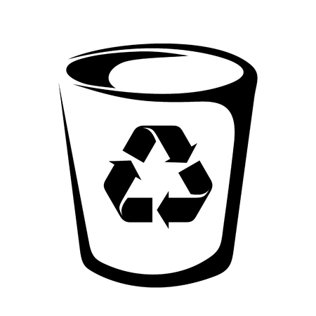 wastebasket: Vector black silhouette of a trash can with a recycling sign. Illustration