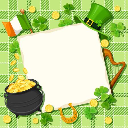 cloverleaf: Vector St. Patricks day card with pot of gold, leprechaun hat, Irish flag, harp, horseshoe, shamrock leaves and coins on a tartan background.