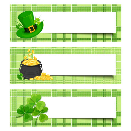erin: Set of three vector St. Patricks day banners with shamrock, pot of gold and leprechaun hat on a tartan background.