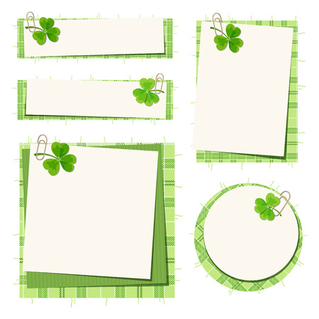 erin: Set of five vector St. Patricks day cards with shamrock and tartan. Illustration