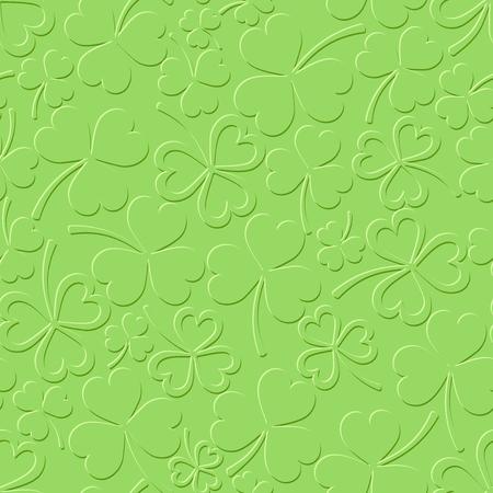 shamrock seamless: Vector St. Patricks day green seamless pattern with shamrock. Illustration