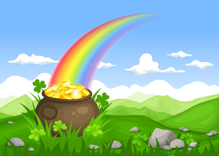 St. Patricks day Irish landscape with leprechauns pot of gold and rainbow.