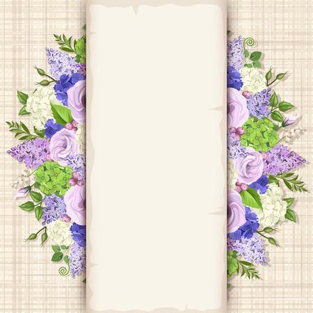 Tarjeta con flores azules, púrpuras y blancas y hojas verdes sobre un fondo de despido.