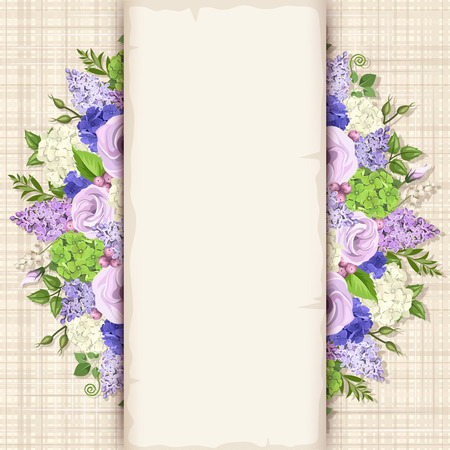 purple flowers: card with blue, purple and white flowers and green leaves on a sacking background. Illustration