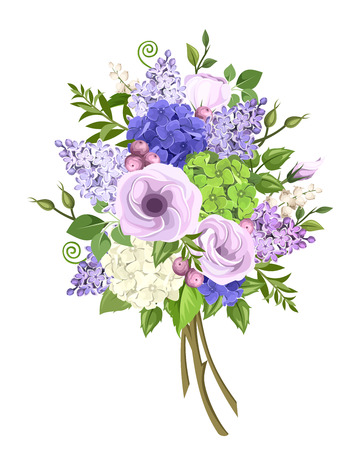 bouquet of purple, blue, white and green lisianthus, lilac and hydrangea flowers and green leaves isolated on a white background.
