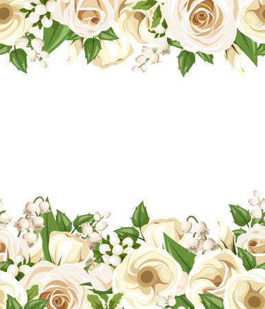 horizontal seamless background with white roses, lisianthus and lilac flowers and green leaves.
