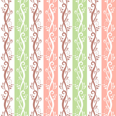 bedclothes: Vector seamless pink and green vintage floral pattern. Illustration