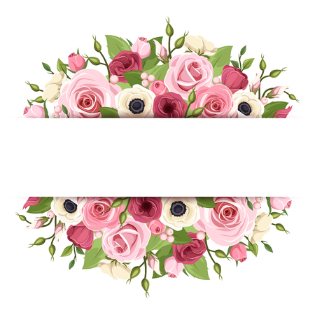 white roses: Vector background with pink, red and white roses, lisianthus, anemone flowers and green leaves.