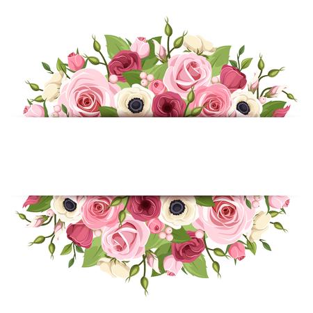 rosas blancas: Vector de fondo con rosas de color rosa, rojo y blanco, lisianthus, anémona flores y hojas verdes.