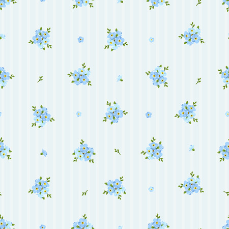 縞模様の背景に青いワスレナグサの花模様のシームレスなパターンをベクトル。