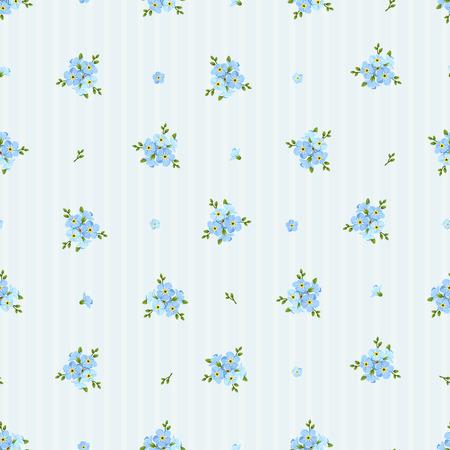 Vector naadloze patroon met blauwe vergeet-mij-niet bloemen op een gestreepte achtergrond.