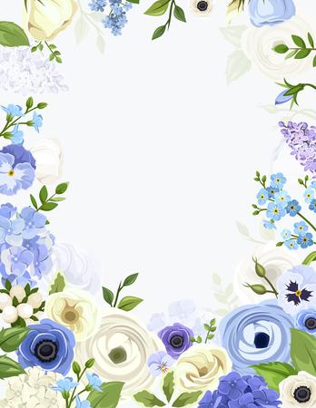 flores moradas: Vector de fondo con varias flores azules y blancas y hojas verdes.