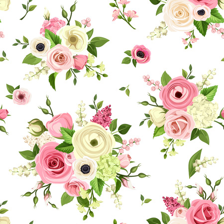 green and white: Vector seamless pattern with pink and white flowers on a white background.