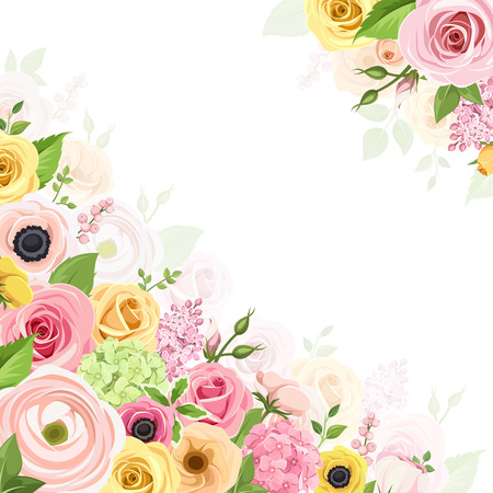 Vector background with pink, orange and yellow roses, lisianthuses, anemones, ranunculus and hydrangea flowers and green leaves. Illustration