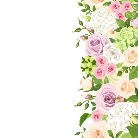 vertical seamless background with pink, orange, purple and white roses, lisianthuses and hydrangea flowers and green leaves.