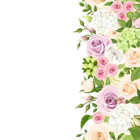 verticale naadloze achtergrond met roze, oranje, paarse en witte rozen, lisianthuses en hortensia bloemen en groene bladeren.