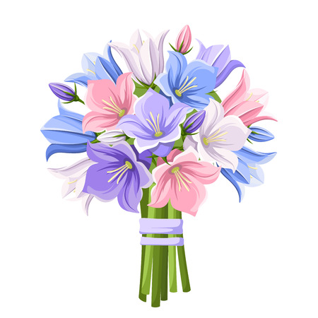 bouquet  flowers: bouquet of blue, purple, pink and white bluebell flowers isolated on a white background. Illustration