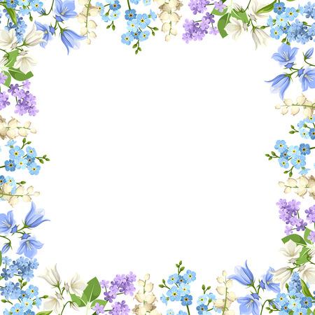 様々 な青、紫と白の花と緑の葉の背景。  イラスト・ベクター素材