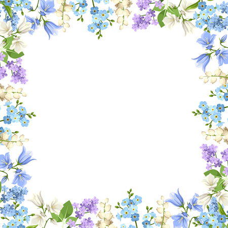 background with various blue, purple and white flowers and green leaves.