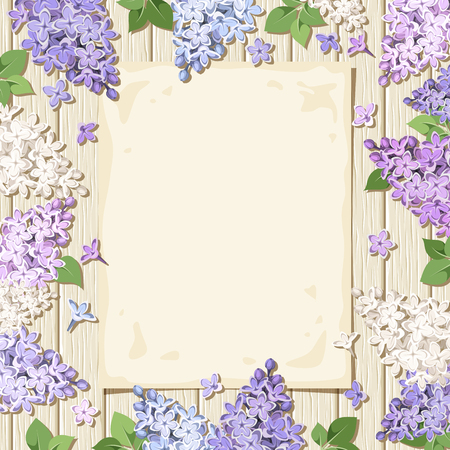 illustration of a paper sheet and purple, white and blue lilac flowers on a wooden background.