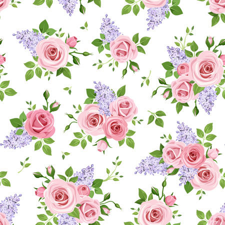 english rose: seamless pattern with pink roses and purple lilac flowers on a white background.