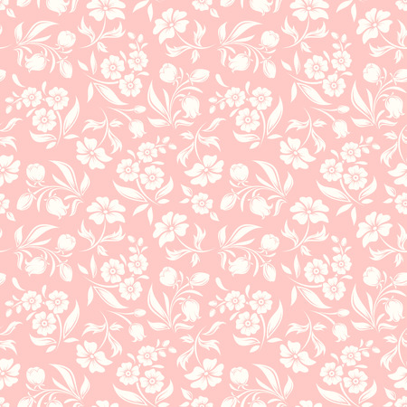 seamless pink and white pattern with flowers and leaves.