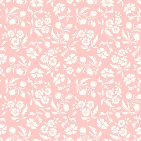 rosa Patrón transparente blanco con flores y hojas.