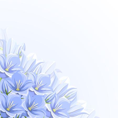 bluebell: corner background with blue bluebell flowers. Illustration