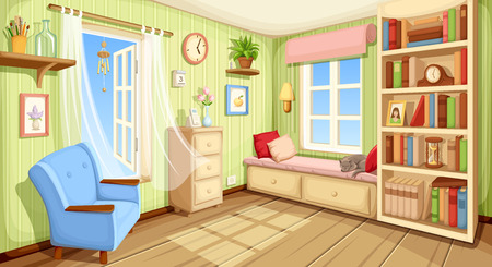 wooden shelf: Vector cozy room interior with bookcase, couch and armchair.