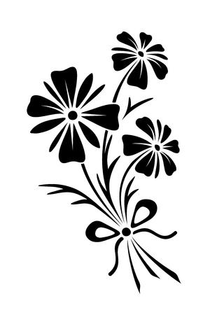 3 つの野生の花の花束の黒いベクター シルエット。