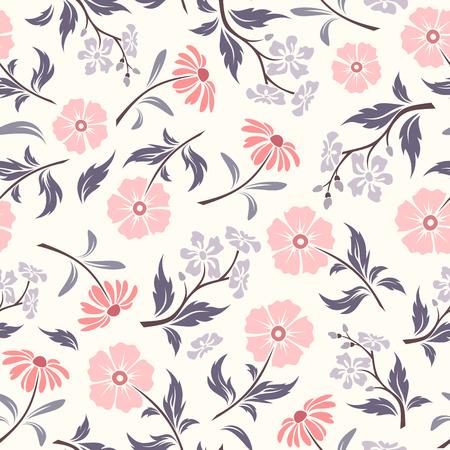 Modèle sans couture de vecteur avec des fleurs roses et violettes et des feuilles sur un fond blanc.