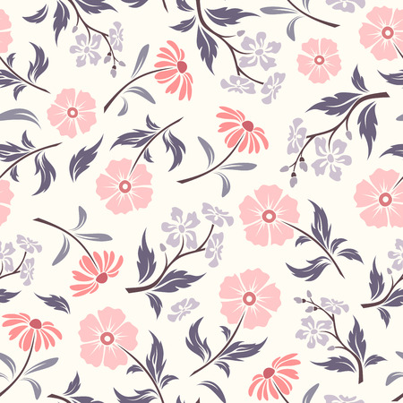 purple flowers: Vector seamless pattern with pink and purple flowers and leaves on a white background. Illustration