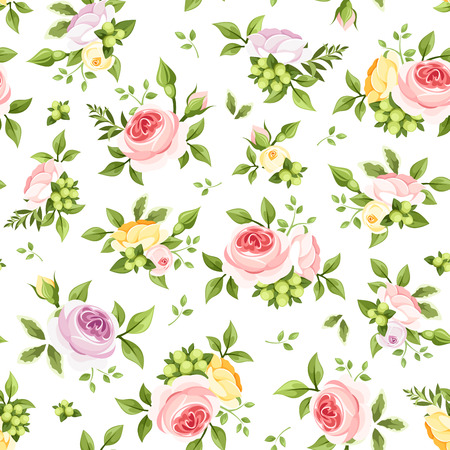 yellow roses: Vector seamless pattern with pink, yellow and purple roses and green leaves on a white background.