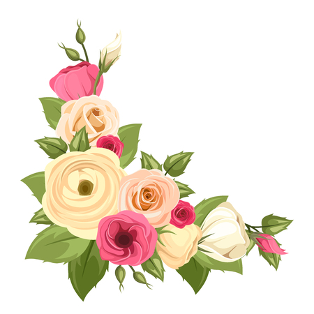 Vector corner background with pink and orange roses, lisianthuses and ranunculus flowers and green leaves.
