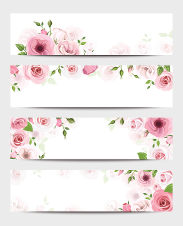 Set of four vector web banners with pink roses and lisianthus flowers.