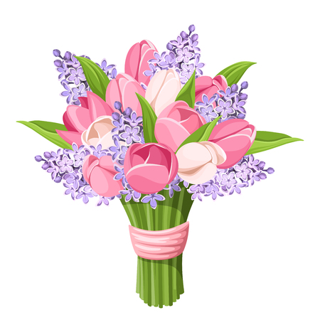 Vector bouquet of pink tulips and purple lilac flowers isolated on a white background.
