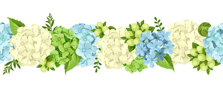 temperate: Vector horizontal seamless background with blue and white hydrangea flowers and green leaves.