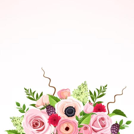 Vector Hintergrund mit roten, rosa und grünen Rosen, Anemonen, Ranunkeln und lila Blüten und Blätter. Vektorgrafik