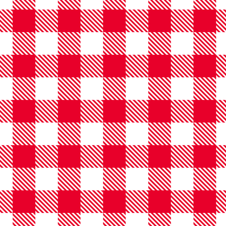 Vector seamless red and white gingham pattern.